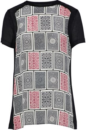 MAISON MARGIELA Printed silk crepe de chine-paneled wool-jersey T-shirt