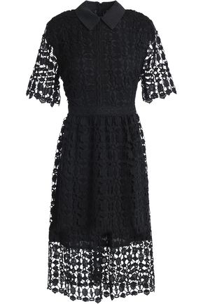 RAOUL Fluted cotton corded lace dress
