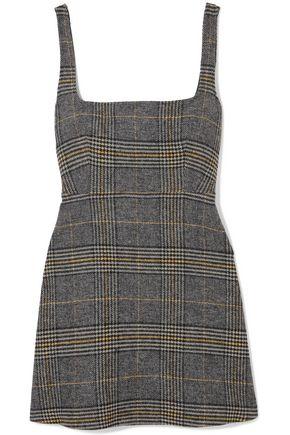 ALEXACHUNG Cutout checked woven mini dress