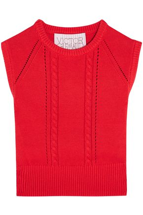 VICTOR GLEMAUD Cropped open-back cotton and cashmere-blend top