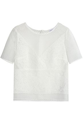CLAUDIE PIERLOT Paneled corded and guipure lace top