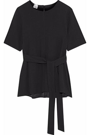 IRIS & INK Patti belted satin-crepe top