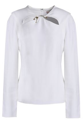 CUSHNIE Violetta cutout ring-embellished stretch-crepe top