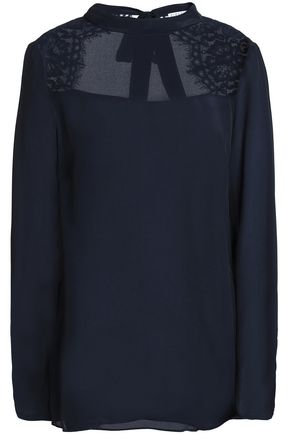 CLAUDIE PIERLOT Lace-trimmed cutout crepe de chine blouse