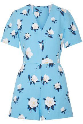 DRAPER JAMES Cutout floral-print cotton-piqué playsuit