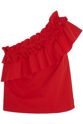 SALONI Esme one-shoulder ruffled cotton-blend top