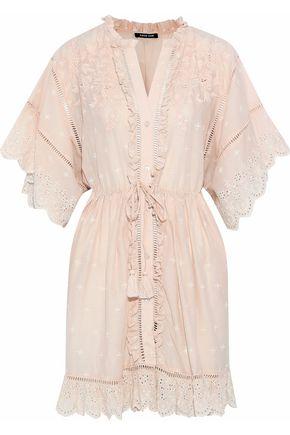 LOVE SAM Ruffle-trimmed broderie anglaise cotton-gauze mini dress