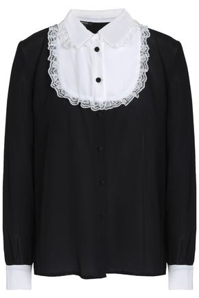 RAOUL Lace-trimmed silk crepe de chine shirt