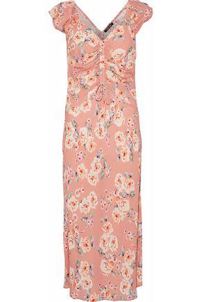 LOVE SAM Serena ruched floral-print crepe de chine dress