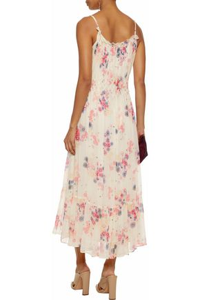 LOVE SAM Smocked floral-print georgette midi dress