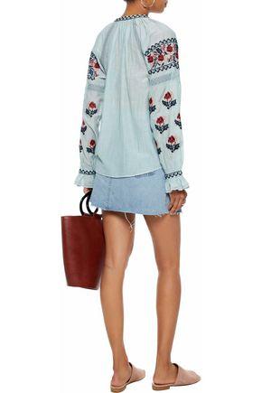 LOVE SAM Crochet-trimmed embroidered cotton-blend gauze top