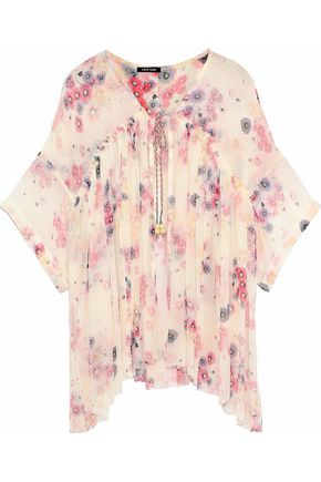 LOVE SAM Frayed floral-print georgette top
