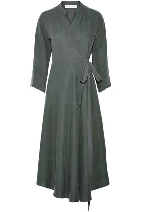 APIECE APART Fluted woven wrap midi dress