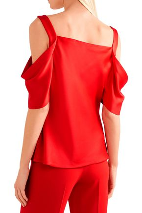 JASON WU Draped cold-shoulder satin top