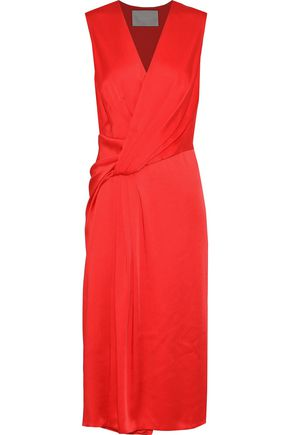 JASON WU Wrap-effect gathered satin dress