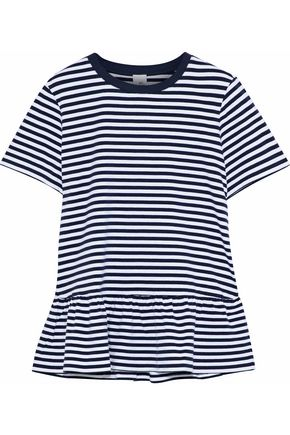 IRIS & INK Maisy striped stretch-cotton peplum T-shirt