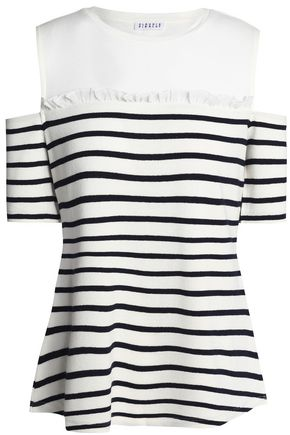 CLAUDIE PIERLOT Cold-shoulder striped knitted top