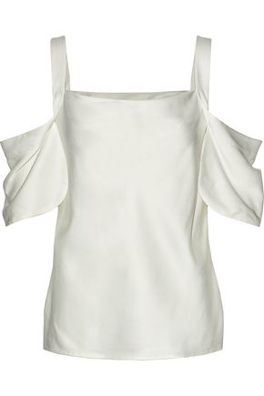 JASON WU Cold-shoulder draped silk-satin top