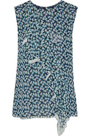 JASON WU Ruffled printed silk-georgette top
