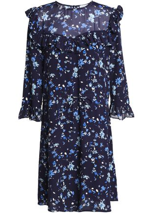 CLAUDIE PIERLOT Ruffled floral-print crepe mini dress