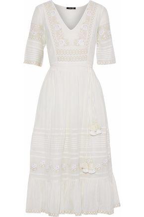 LOVE SAM Bella embroidered cotton-blend voile midi dress