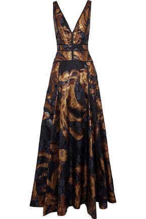 J.MENDEL Metallic fil coupé silk-organza gown