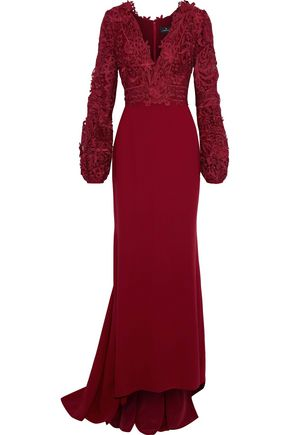 J.MENDEL Guipure lace-paneld cady gown