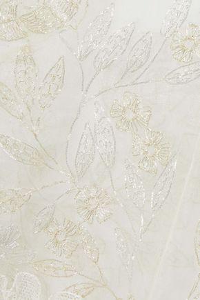 J.MENDEL Metallic embroidered silk-voile blouse