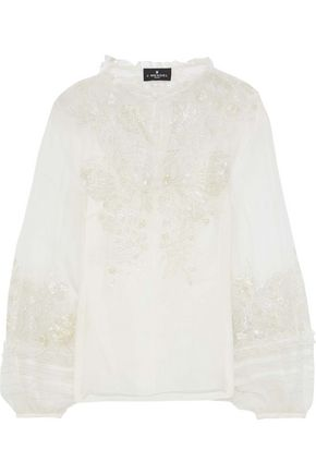 J.MENDEL Metallic embroidered silk-voile blouse