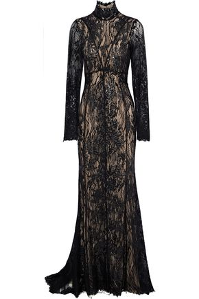J.MENDEL Sequined-embellished embroidered cotton-blend tulle gown