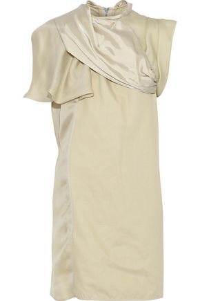 RICK OWENS Draped satin-paneled silk-blend canvas mini dress