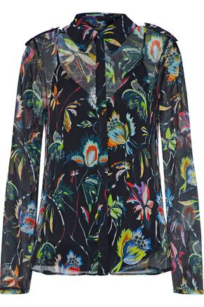 JASON WU Floral-print silk-georgette shirt