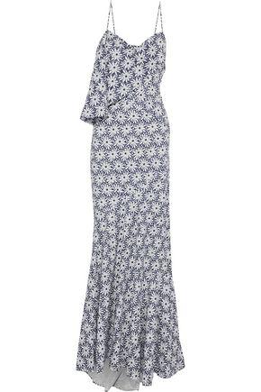 ZAC POSEN Layered floral-print cotton gown