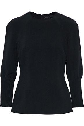 BRANDON MAXWELL Pintucked crepe blouse