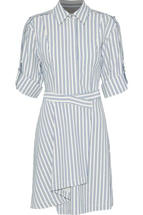 JASON WU Wrap-effect striped poplin mini shirt dress