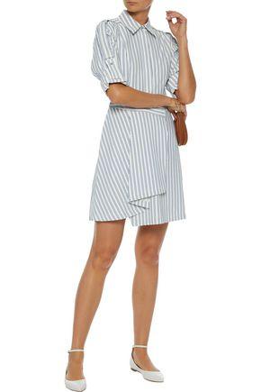 JASON WU Wrap-effect striped poplin mini shirt dress