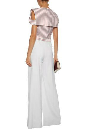 JASON WU Cold-shoulder striped poplin top