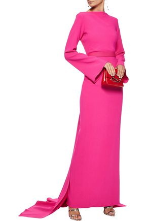 BRANDON MAXWELL Tie-back draped crepe gown