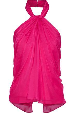 BRANDON MAXWELL Twist-front silk-organza  halterneck top