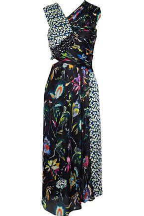 JASON WU Paneled cutout printed silk-georgette midi dress
