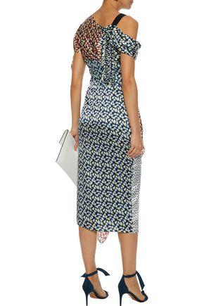 JASON WU Asymmetric paneled printed silk-georgette dress
