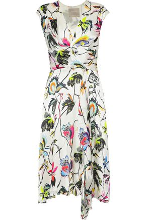 JASON WU Wrap-effect floral-print crinkled silk crepe de chine dress