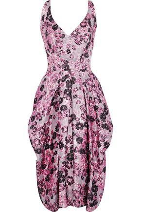 ZAC POSEN Pleated brocade dress