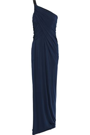 JASON WU One-shoulder gathered stretch-jersey gown