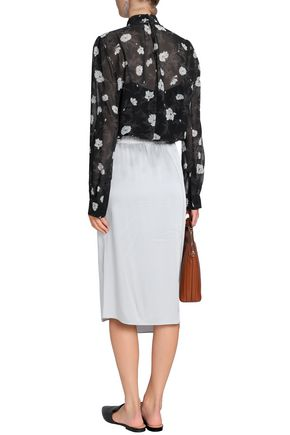 CARVEN Pussy-bow floral-print georgette blouse