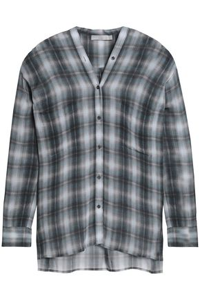VINCE. Checked silk crepe de chine shirt