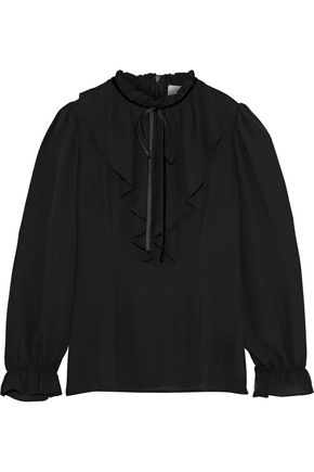 IRIS & INK Ellie pussy-bow ruffled crepe de chine blouse