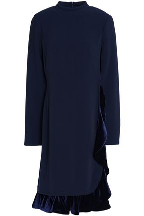 MIKAEL AGHAL Ruffled velvet-trimmed crepe dress