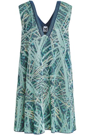 M MISSONI Flared metallic jacquard-knit mini dress