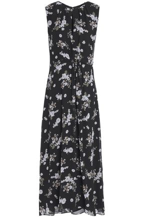 VINCE. Pleated floral-print silk-georgette maxi dress